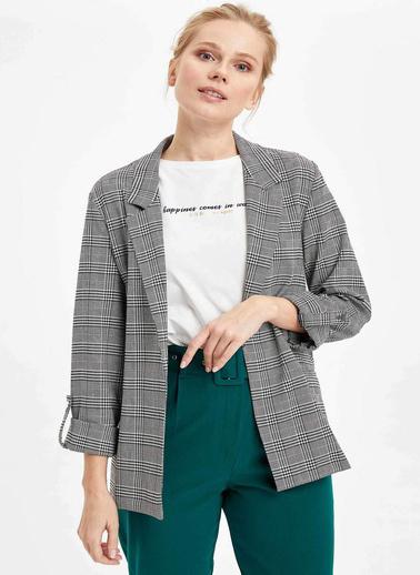 DeFacto Katlamalı Kol Blazer Ceket Beyaz